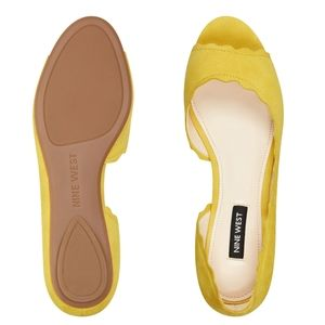Nine West D'Orsay Yellow Suede Open Toe Flats
